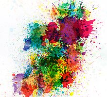 Ireland Map Paint Splashes by ArtPrints