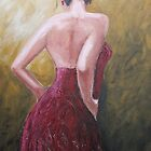 lady in red dress by Caroline Martin