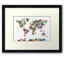 World Map Paint Drops Framed Print