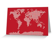 World Map Love Hearts Greeting Card