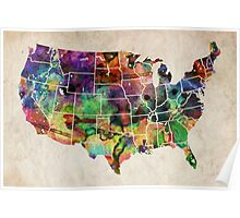 USA Watercolor Map Poster