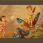 Vintage Babies on Butterfly Greetings by Yesteryears