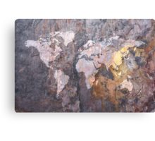 World Map on Stone Background Canvas Print