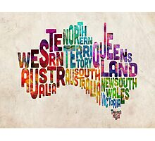 Australia Typographic Text Map Photographic Print