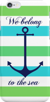 Blue anchor on blue and green navy stripes marine style by mikath