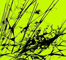 Strike Out Lime Green and Black Abstract by Natalie Kinnear