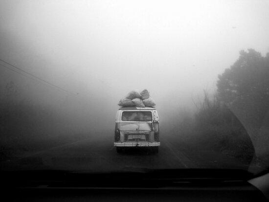 Van in Fog by LaurelMuldowney