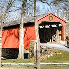 Winter at Pool Forge Covered Bridge by Monte Morton