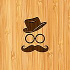 Bamboo Look & Engraved Retro Mustache Hat Glasses by scottorz