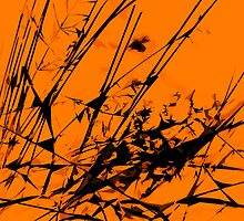 Strike Out Orange and Black Abstract by Natalie Kinnear