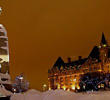 War Memorial and Chateau Laurier, Ottawa New Year's Eve 2012 by Debbie Pinard