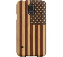 Bamboo Look & Engraved Vintage American USA Flag Samsung Galaxy Case/Skin