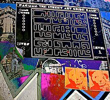 Pac Man graffiti lane map - Graffiti - Street Art by NicNik Designs