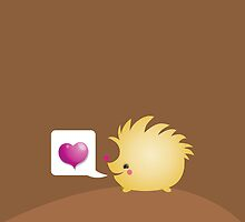 Cute little hedgehog saying LOVE by jazzydevil