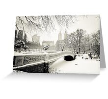 Winter - Central Park - Bow Bridge - New York City Greeting Card