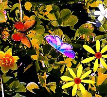 Butterflies in a flower patch by ♥⊱ B. Randi Bailey