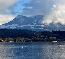 Lake of the Four Forested Cantons and Mountain Pilatus at Lucerne by Daidalos