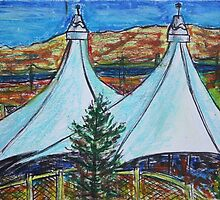 Oil Pastels Sketch. Shoreline Amphitheater. Mountain View, California by Igor Pozdnyakov