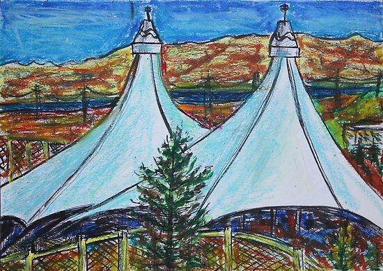 Oil Pastels Sketch. Shoreline Amphitheater. Mountain View, California by Igor Pozdnyakov