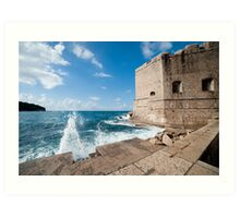 Dubrovnik Pier and Fortification Art Print