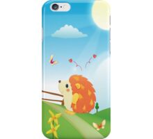 Cute Love Hedgehog with Butterfly Sunny Day iPhone Case/Skin