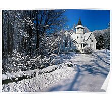 Rural Farm Life Snow Scene Church Poster Print And Card Poster