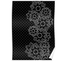 Polka Dot and Flowers Decoration Poster