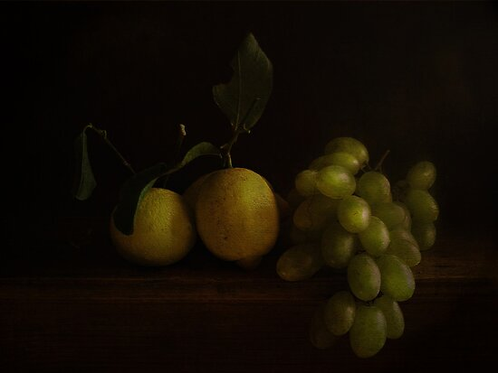 Two Lemons and grapes by EbyArts