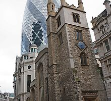 The Gherkin in London with St Andrew Undershaft in the Foreground by Keith Larby