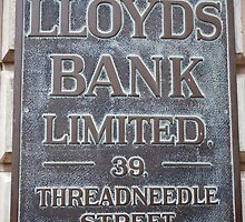 Lloyds Bank limited Sign by Keith Larby