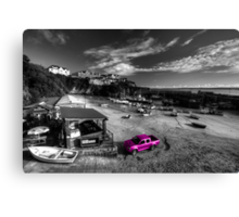 Newquay Harbour Pink Pickup  Canvas Print