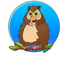 Owl Blue Moon Cartoon by Graphxpro