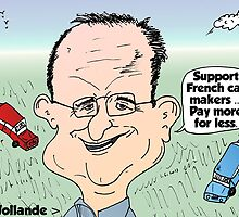 Francois Hollande auto cartoon by Binary-Options