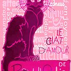 Le Chat D'Amour In Pink With Words of Love by taiche