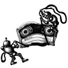 Robots Destroying the Cassette Tape pen ink drawing by Vitaliy Gonikman