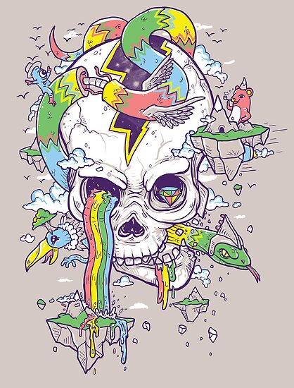 Flying Rainbow skull Island by Jonah Block