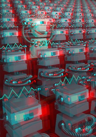 Retro 3D Robot Cinema by chayground