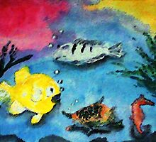 Happy Fishies, watercolor by Anna  Lewis