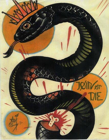 join or die, socialist black snake, tattoo art by resonanteye