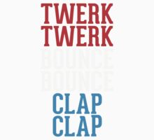 Twerk bounce clap red white blue Kids Clothes