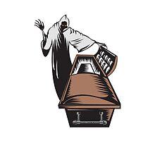 Grim Reaper Death Coffin Retro  by patrimonio