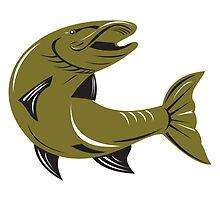Muskie Muskellunge Fish Retro  by patrimonio