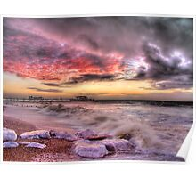 Worthing Beach Sunrise 1 - Boxing Day 2012 - HDR Poster