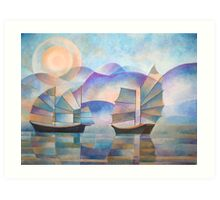 Shades of Tranquility - Cubist Junks Art Print
