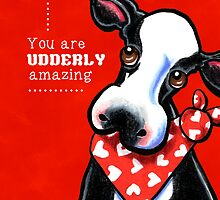 Udderly Amazing Funny Cow Valentine by offleashart