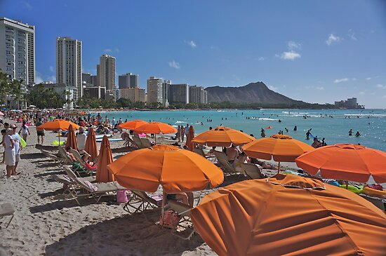 Waikiki Beach Under Canvas by David Davies