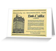 Vintage Detroit Ad for the Book Cadillac Hotel in 1926 Greeting Card