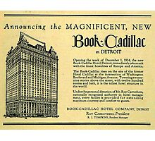 Vintage Detroit Ad for the Book Cadillac Hotel in 1926 Photographic Print