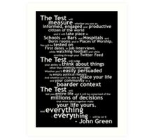 Crash Course The Test Quote Art Print
