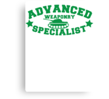 Advanced Weaponry Specialist with green army tank Canvas Print